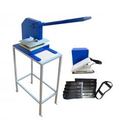 Máquina De Fazer Chinelo Corte Duplo C/ Bancada  + kit 22 Facas Chinelo