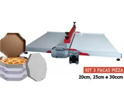 Máquina De Corte E Vinco + kit 3 Facas De Corte Para Caixa De Pizza Grande