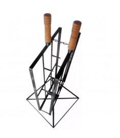 Espeto Para Assar Costelão, Fogo De Chão - Aço Carbono - Base Giratória